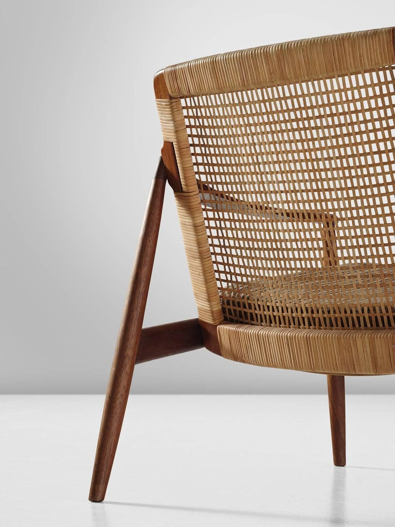 Mid-20th Century Hartmut Lohmeyer Armchair in Teak and Cane For Sale