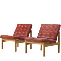 Torben Lind & Ole Gjerløv-Knudsen Red Leather Easy Chairs