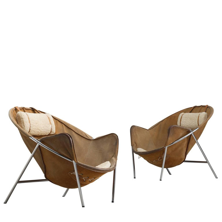 Erik Jørgensen Set of Two Easy Chairs in Cognac Suede