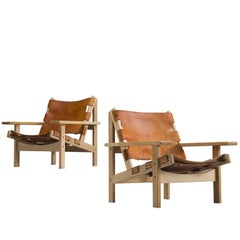 Erling Jessen Set of Cognac Leather and Oak Lounge Chairs