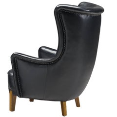 Danish Cabinetmaker High Leatherette Wingback