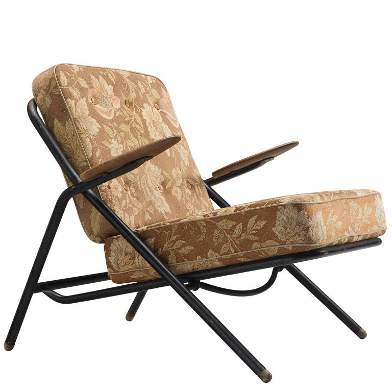 Hans Wegner GE215 Sawbuck Lounge Chair in Floral Upholstery