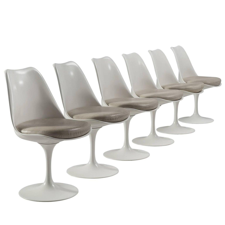 Eero Saarinen Set Of Six Original Leather Swivel Tulip Chairs