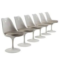 Eero Saarinen Set of Six Original Leather Swivel Tulip Chairs for Knoll