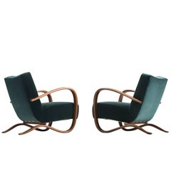 Jindrich Halabala Lounge Chairs in Deep Green Velvet