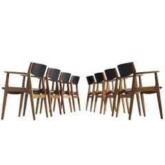 Henning Kjærnulf Set of Eight Dining Chairs in Oak
