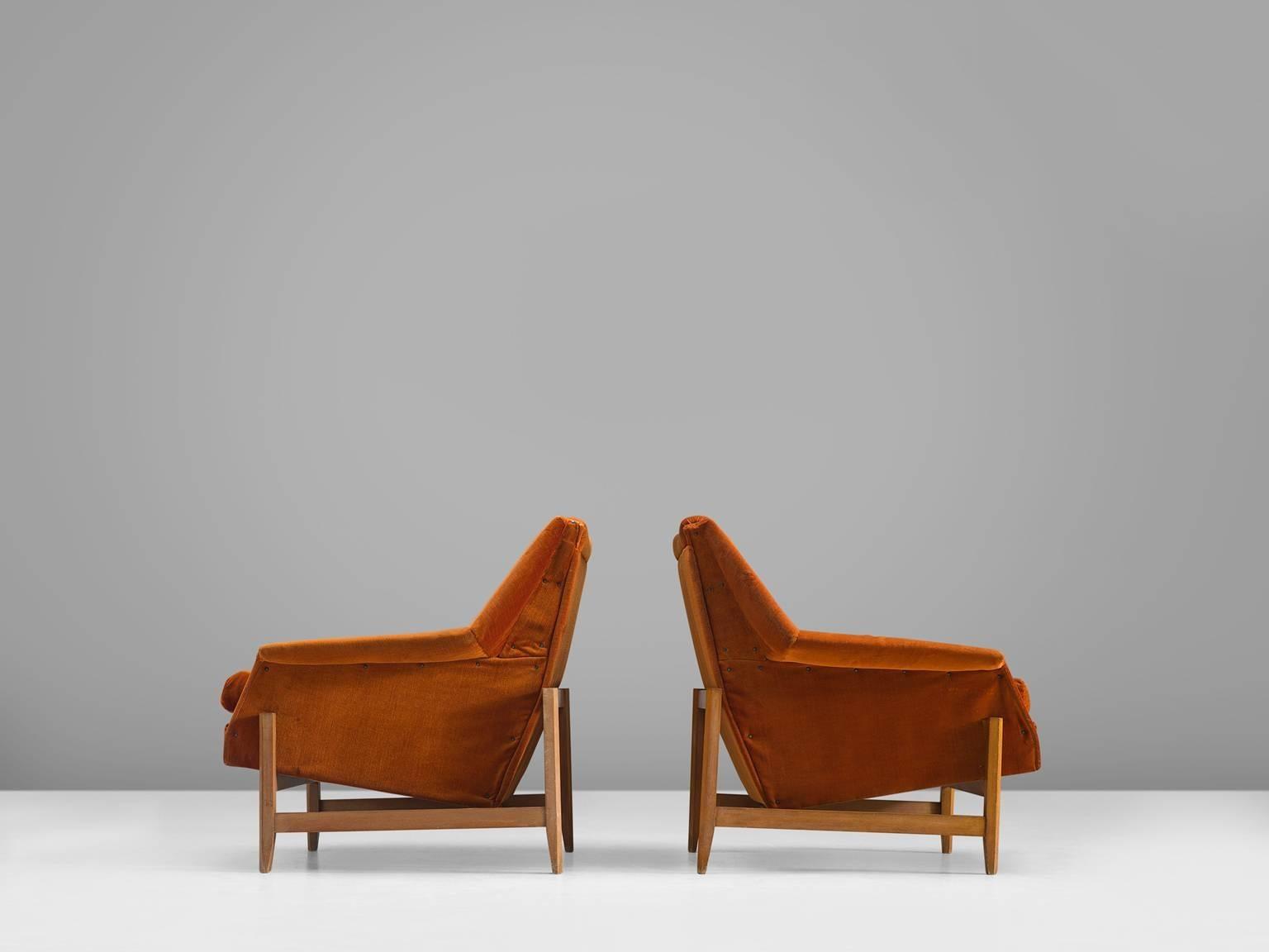 Mid Century Modern Italian Set Of Cubist Lounge Chairs In Orange Velvet For  Sale