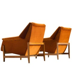 Italian Set of Cubist Lounge Chairs in Orange Velvet
