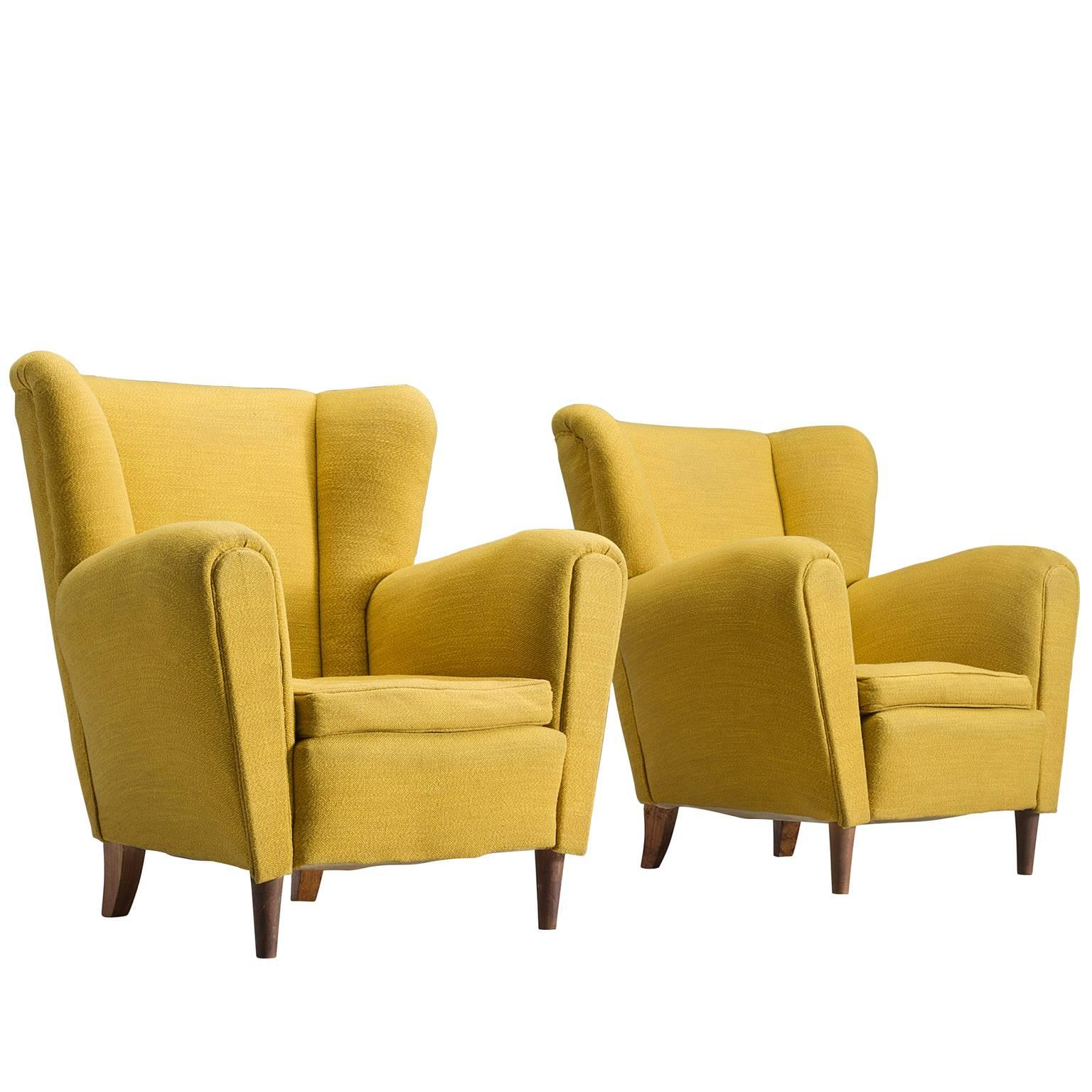 Italian Bright Yellow Lounge Chairs 1950s For Sale at 1stdibs