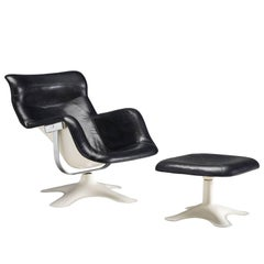 Yrjö Kukkapuro 'Karuselli' Lounge Chair in Black Leather with Stool