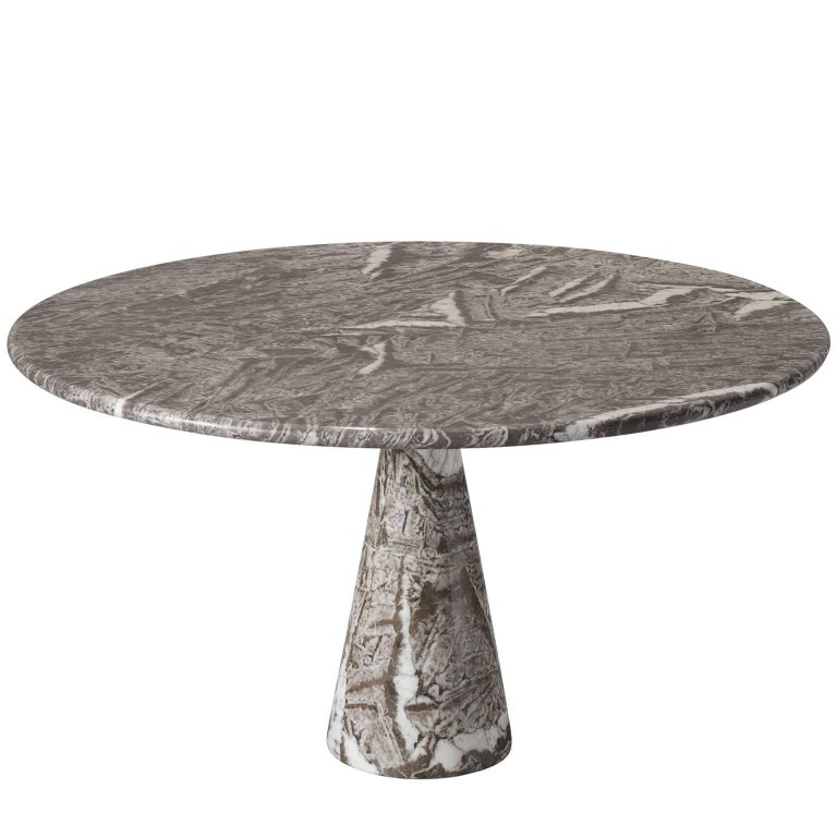 Angelo Mangiarotti Exceptionally Patterned Marble Dining Table