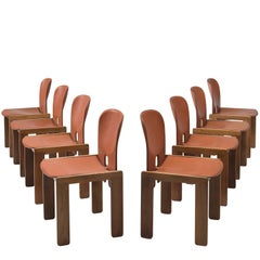 Afra & Tobia Scarpa Chairs in Brick Red Leather and Walnut for Cassina