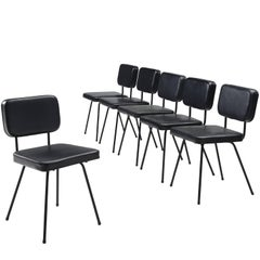 Pierre Guariche Set of Six Black Dining Chairs for Airborne