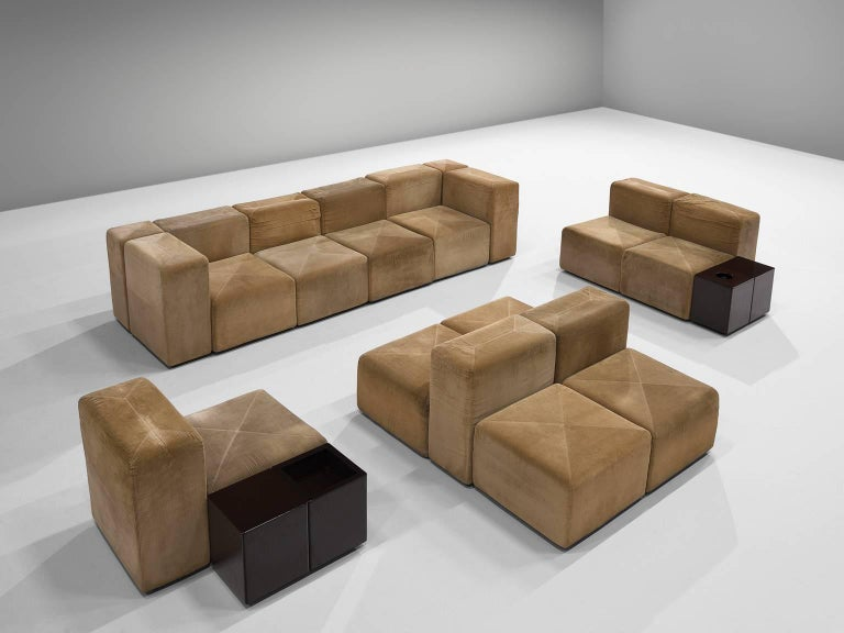 Anonima Castelli Large Sectional Sofa In Suede 1970s For