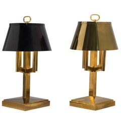 Solid Brass Table Lamps 3ft / 88cm, 1940s