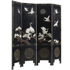 Japonism Room Divider with Cranes and Blossom, 1960s