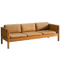 Dutch Cognac Leather Free-Standing Sofa
