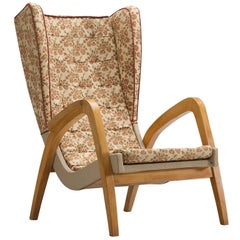 English Wingback Armchair in Beech, 1940s