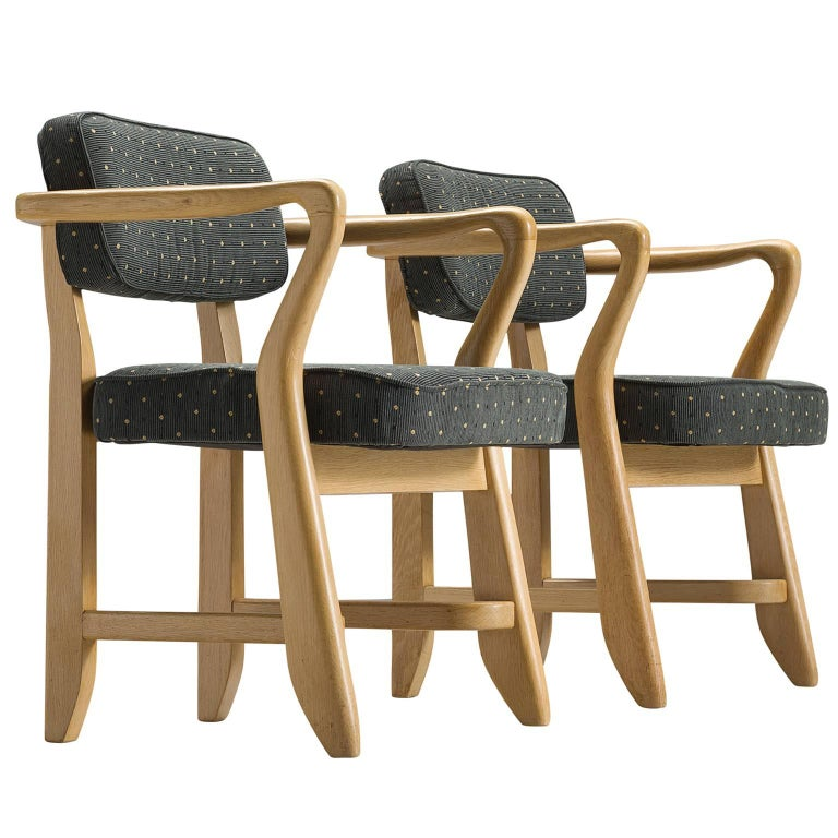 Guillerme & Chambron Deep Green Oak Side Chairs