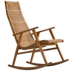 Dutch Rocking Chair in Cane, 1950s