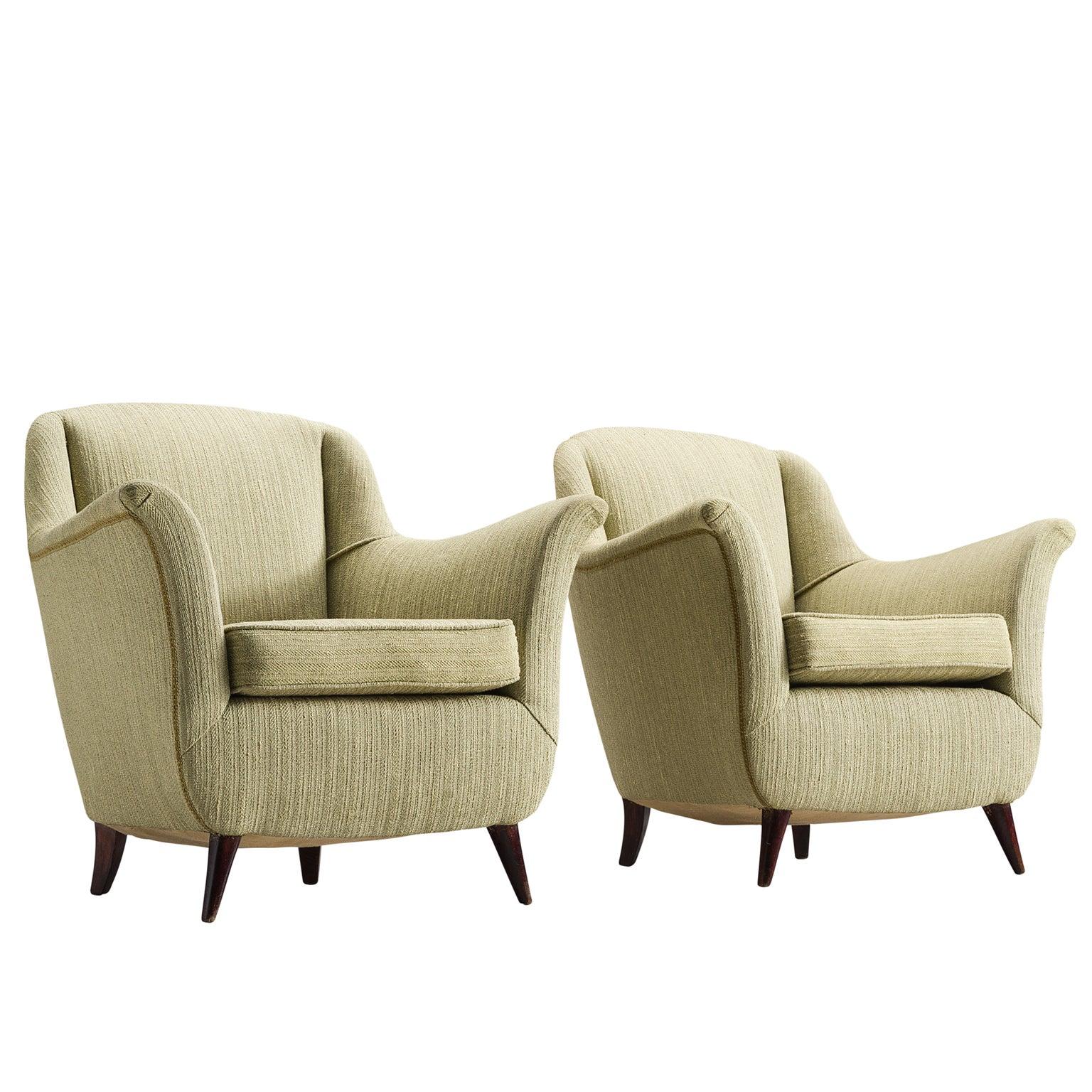Italian Soft Green Lounge Chairs, 1950s