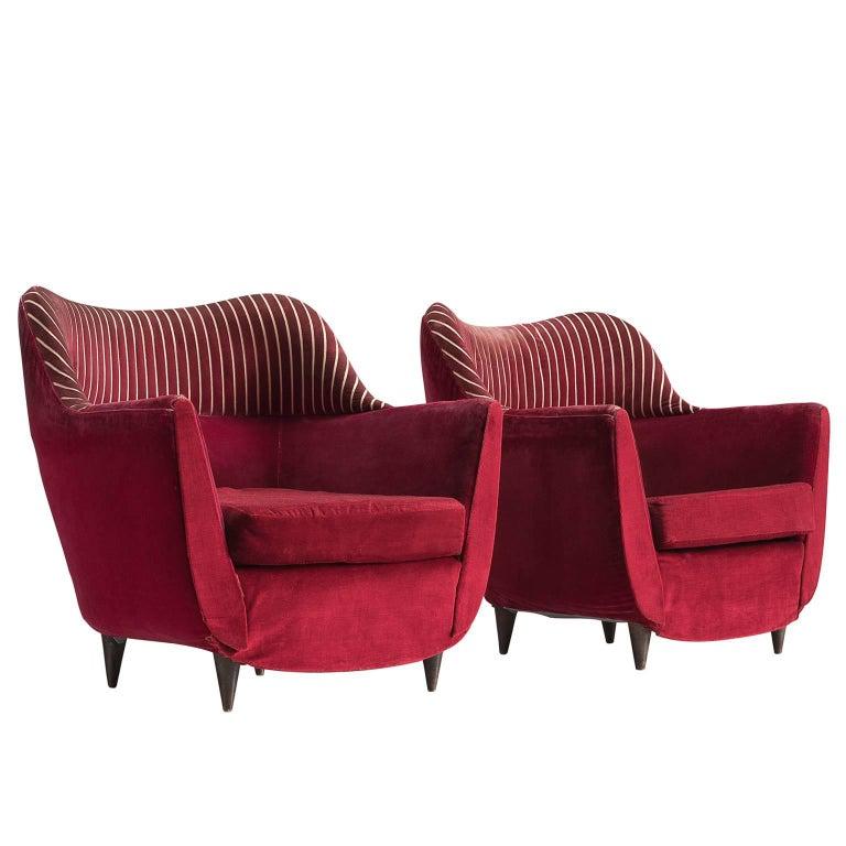 Italian Club Chairs in Deep Red Fabric, 1950s