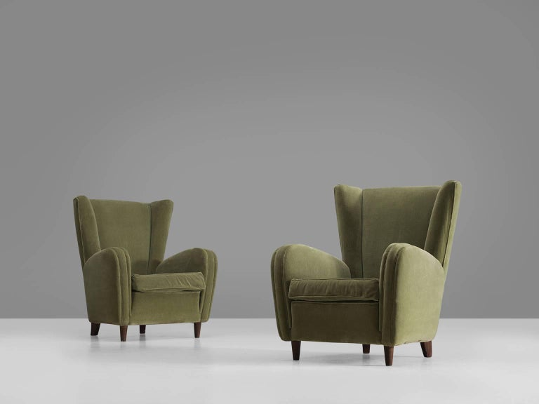 Olive Green Italian Lounge Chairs, 1950s For Sale At 1stdibs
