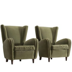 Olive Green Italian Lounge Chairs, 1950s