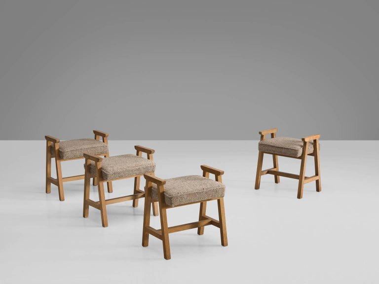 Guillerme Et Chambron Set Of Four Stools In Neutral Colors