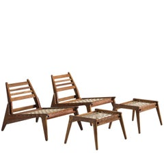 Set of Midcentury Easy Chairs with Ottomans in Oak