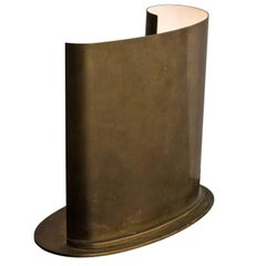 Early Italian Curved Brass Desk Light