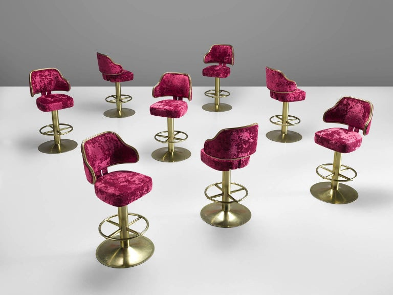 Newly Upholstered Pink Velvet Hollywood Bar Stools 1980s