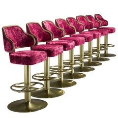 Newly Upholstered Pink Velvet Hollywood Bar Stools, 1980s