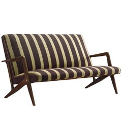 Scandinavian Settee in Striped Fabric and Organic Frame