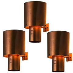 Set of Three Danish Copper Wall Lights, 1970s