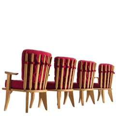 Set of Four Red Guillerme and Chambron Solid Oak Chairs