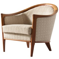 Swedish 'Farmor' Armchair in Teak and Original Fabric, 1950s