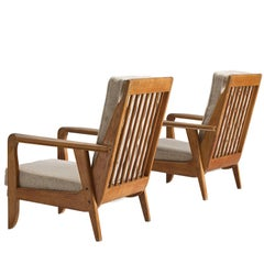 Guillerme and Chambron Carved Set of Oak Lounge Chairs, 1950s