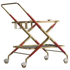 Cesare Lacca Trolley in Brass and Glass, 1950s