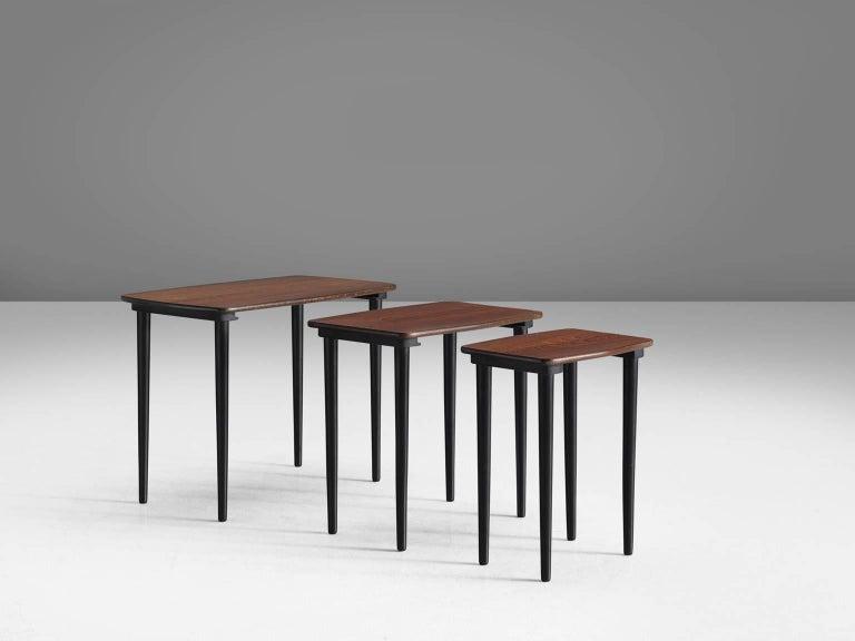 Scandinavian Modern Set of Three Scandinavian Nesting Tables For Sale