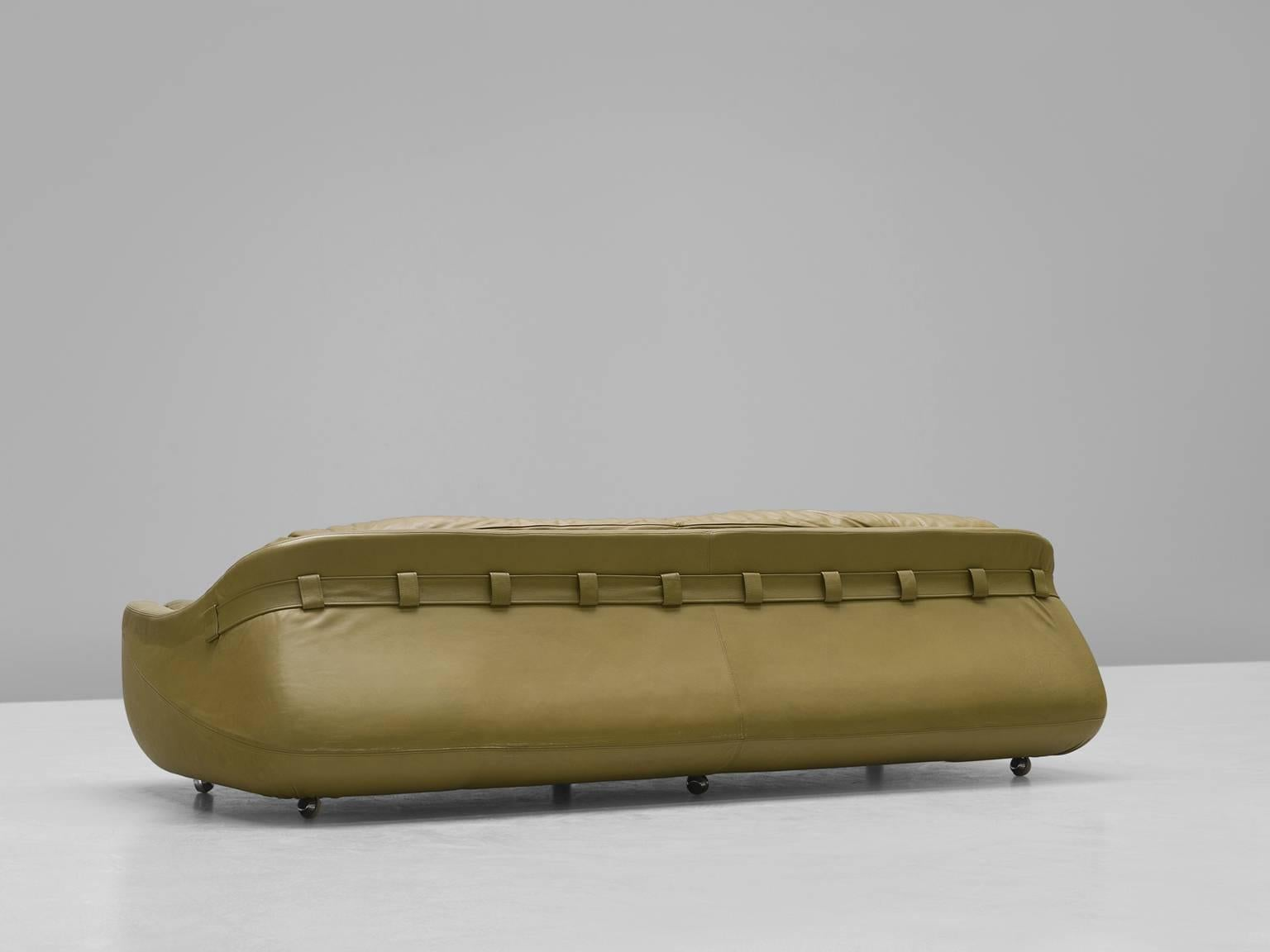 Superior Mid Century Modern Italian Olive Green Leather Sofa For Sale