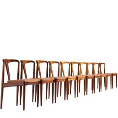 Johannes Andersen Set of Ten 'Juliane' Chairs in Rosewood and Cognac Leather