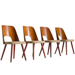 Oswald Haerdtl Set of Four Bent Chairs for Thonet