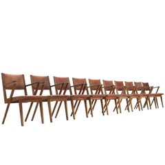 De Coene Set of Ten Armchairs in Leather and Oak
