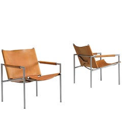 Martin Visser Easy Chairs in Steel and Cognac Leather for 't Spectrum