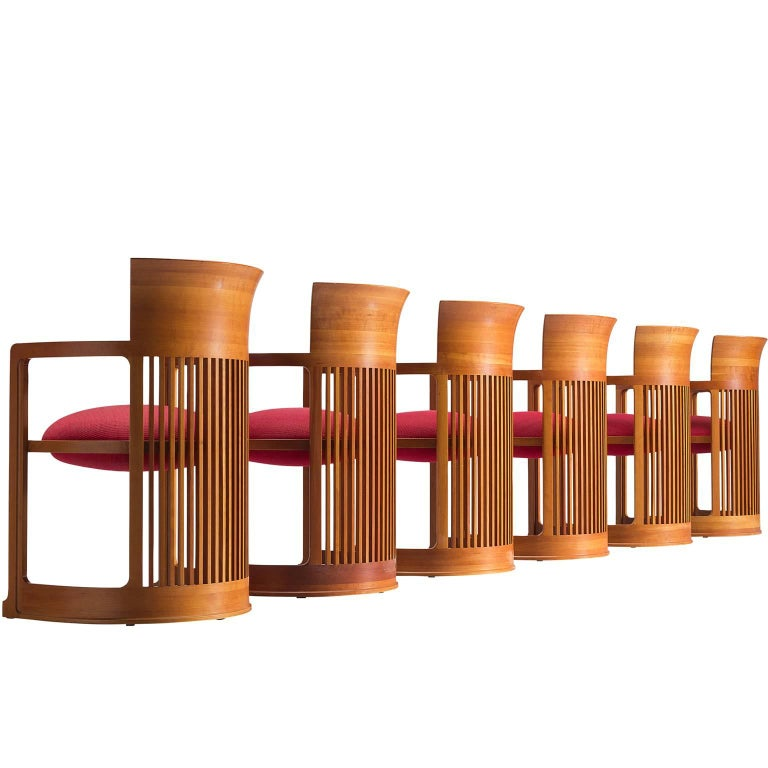 Frank Lloyd Wright Cherry Barrel Chairs for Cassina