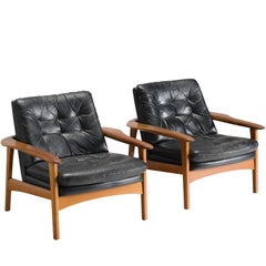 Danish Pair of Original Black Leather Teak Lounge Chairs