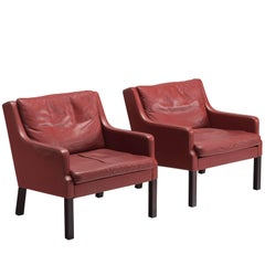 Danish Set of Armchairs with Original Red Leather