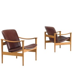 Fredrik A. Kayser Norwegian Oak Easy Chairs