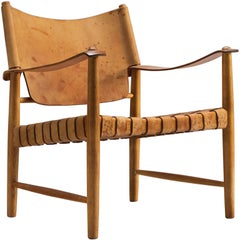 Danish Cognac Leather and Oak Safari Chair, 1950s